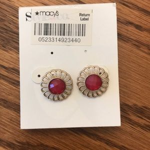 Gold with Pink Stone Statement Earrings, NWT